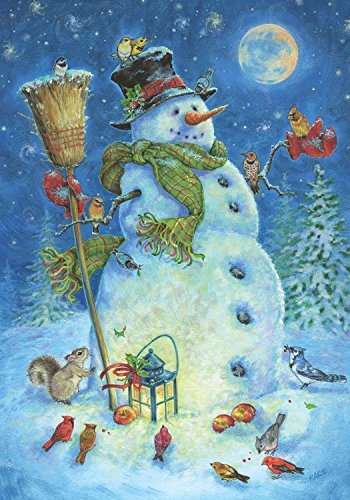 Briarwood Lane Moonlit Snowman Winter House Flag Lantern Birds 28