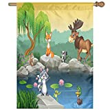 HUANGLING Funny Mascots Animals By The Lake Moose Fox Squirrel Raccoon Kids Nursery Home Flag Garden Flag Demonstrations Flag Family Party Flag Match Flag 27''x37''