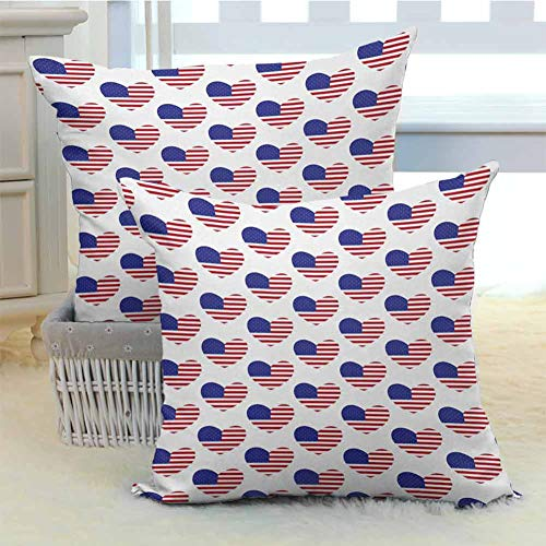 Khdkp 4th of July Comfortable Pillowcases Pattern with American Flags in The Shape of Heart Love of Nation Soft Soild Decorative for Room Bedroom Room Sofa Chair Car 2PCS - W16 x L16 inch (Chair Rhino Price)