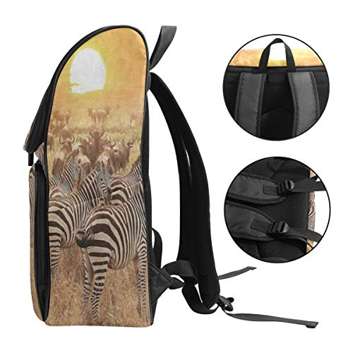 70645eadc1f5 LoveBea Travel Backpack Animal Zebra Sunset Fall Grass Gym Backpack for Men  Large Vintage Daypack