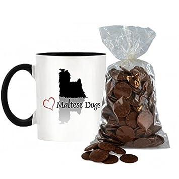 Elegante Corazón Maltés perros diseño bicolor taza con mango negro y interior incluye 200 G Bolsa de Chocolate con leche botones.: Amazon.es: Hogar