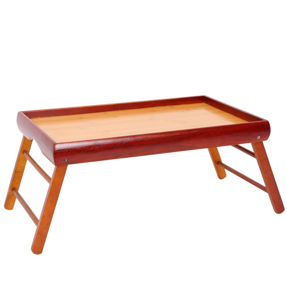 Dinner Tray - Wooden Breakfast in Bed Foldable Portable Serving TV Table with Stand - 20.5 '' by Juvale (Image #1)