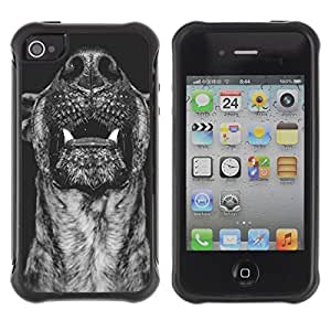 Paccase / Suave TPU GEL Caso Carcasa de Protección Funda para - Australian Cattle Dog Muzzle Black - Apple Iphone 4 / 4S
