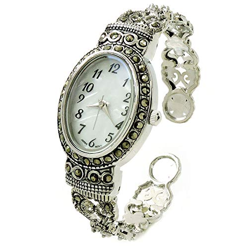 Silver Black Vintage Style Marcasite Crystal Oval Face Women