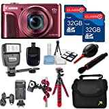 Canon Powershot SX720 (Red) HS Point and Shoot Digital Camera, W/ Case + 64GB Memory + Flash + Tripod + Case + Cleaning Kit + More – International Model
