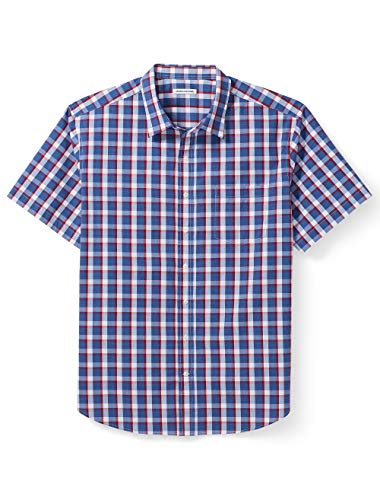 Amazon Essentials Men's Big & Tall Short-Sleeve Plaid Shirt fit by DXL, Red/Blue, -