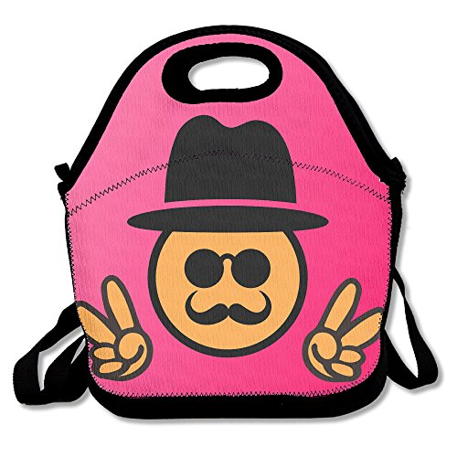 Cool Emoji Sunglasses Victory Sign Design Pink Lunch Bags Insulated Tote Handbag Food Lunchbox Cooler Warm Pouch With Shoulder Strap For Women Teens Girls Kids - Sunglasses Victory Vintage