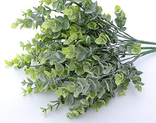 MaxFlowery Sale-Faux Frost Eucalyptus Bush 21 Stems Bunch, Artificial Boxwood Shrub Greenery Foliage for Wedding Home Decor for $<!--$11.79-->