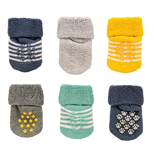 Carter's Baby Boys' Folded Cuff Socks (6 Pack), Grey/Yellow/Teal/Blue, 0-3 MONTHS