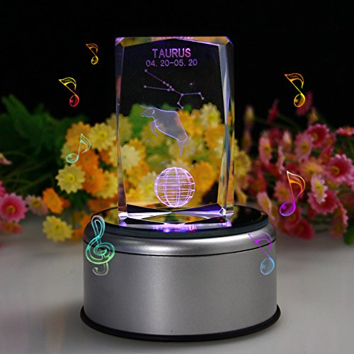 LIWUYOU Crystal Colorful Changing 12 Constellation 3D Rotating Musical Box, Music Base ,Taurus