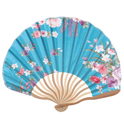 Chinese Japanese Floral Silk Folding Hand Held Dance Fan Party Wedding Decor |Color - Blue ()