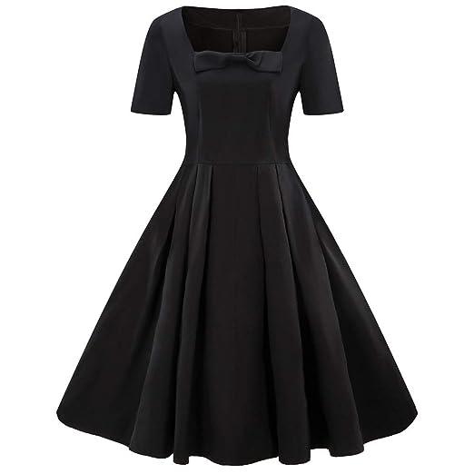 Amazon.com  Caopixx Dress Christmas for Womens Plus Size Short Sleeve Vintage  Dress Bow Retro Flare Dress  Clothing 44ad1596530a