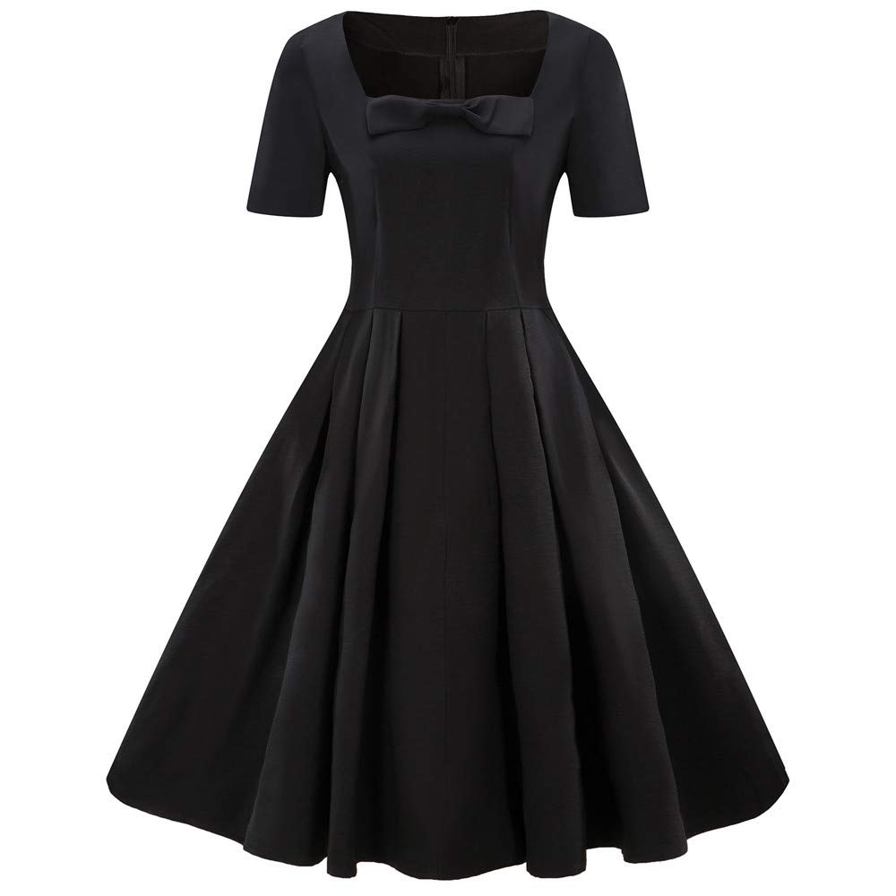Sttech1 Vintage Short Sleeve Dress Solid A-Line Bow Swing Skirt