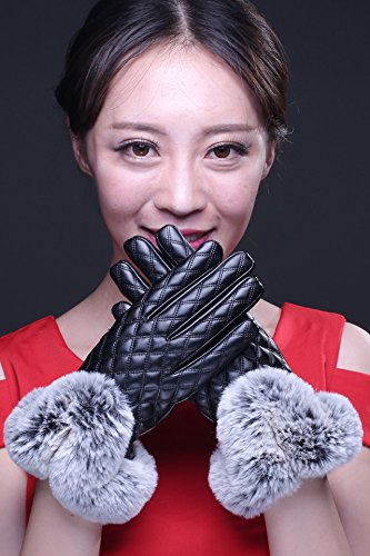 Generic Leather_ glove gloves women girls winter _touch_screen_cycling_ autumn winter _thick_warm_ lovely students _modeling,_rabbit hair of velvet_ glove girl