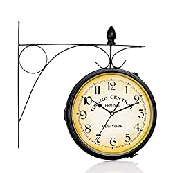 GAOXINGSHOP Wal Clock Vintage Retro Wall Clock European Style Wrought Iron Double-sided Wall Clock Silent Large Double-sided Clock (Color : Digital wall clock)