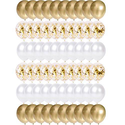 O-Kinee Globos de Confeti Dorados, 60 Piezas Globos Metalizados Oro y Latex Blancos, para Cumpleanos, Bodas Aniversario, Bautizos Comunion Baby Shower, Graduacion Fiesta Decoracion