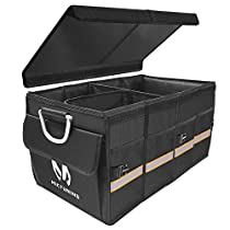 MICTUIGN Heavy Duty Car Trunk Organizer - Waterproof Collapsible & Portable Cargo Storage Bin Container Carrier - Multi Compartments | Foldable Cover | Aluminium Alloy Handle | Non Slip Bottom| Reflective Tape for Car SUV Jeep Truck