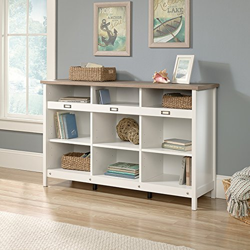 Sauder 417653 Bookcase, Storage Cabinet Adept Soft White Credenza, Craftsman Oak by Sauder
