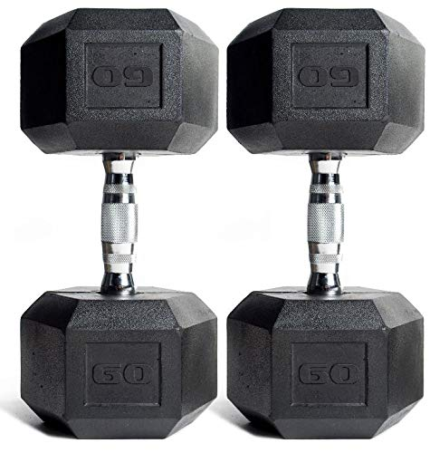 CAP Barbell Rubber Coated Hex Dumbbells 60 lbs. Set of ()