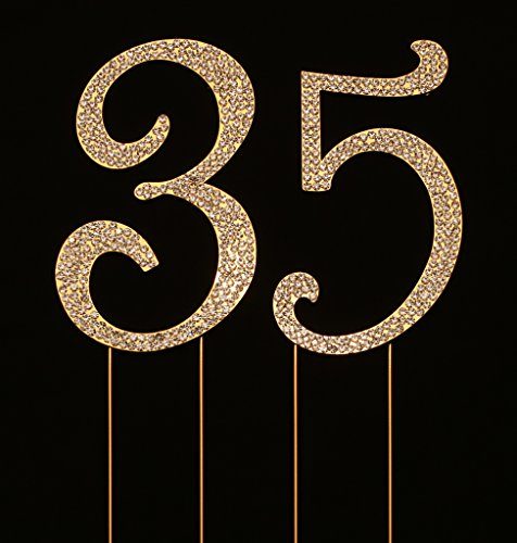 Numbrer 35 for 35th Birthday or Anniversary Cake Topper Party Decoration Supplies, Gold, 4.5 Inches Tall