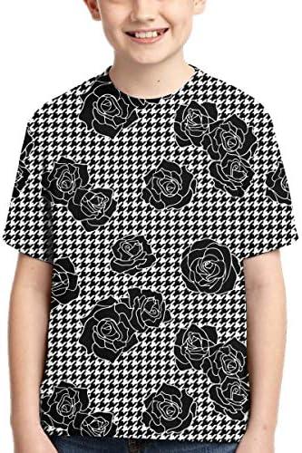 Camiseta de Manga Corta para niños, diseño de Pata de Gallo ...