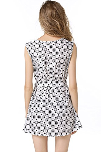 JXLOULAN Summer Womens Blanc Noir Plaid manches col rond Ceintures Robe en mousseline