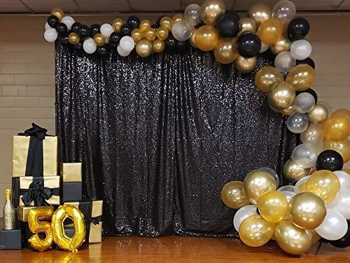 QueenDream Black Sequin Backdrop 7ftx7ft Black Sequin Party Backdrop Rectangular Black Backdrop Curtain Party Decorations