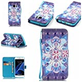 Galaxy S7 Case,Firefish [3D Painting] [Kickstand] Flip Folio Wallet Case with Environmental-friendly Materials Anti-scratch Protection for Samsung Galaxy S7-Crystal Flower