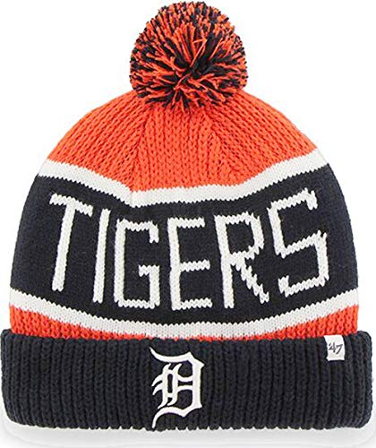 Mlb Cases Hat Display (MLB Detroit Tigers '47 Brand Calgary Cuff Knit Hat with Pom, Orange, One Size)