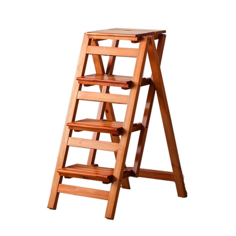 Stepladders Wooden Ladder Chair Stool Multifunction Foldable Shelving Ladder Home Library 4 Steps 150kg Capacity (Walnut Colour)