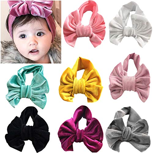 8PCS Baby Turban Headbands Head Wrap Soft Velvet Knotted Hairbands for Baby Girls Toddlers Kids Children