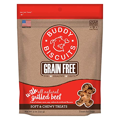 Buddy Biscuits Grain Free Soft & Chewy Healthy Dog Treats with Grilled Beef - 5 oz.