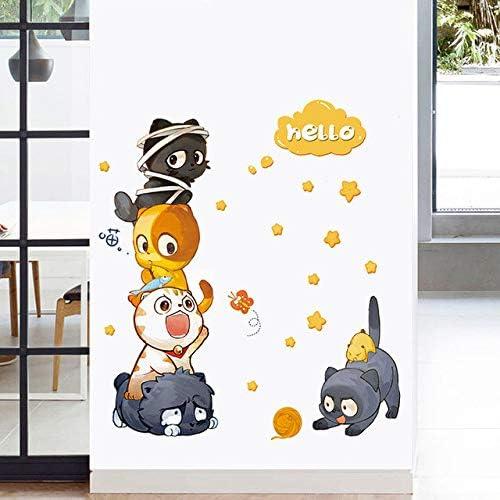 Myytcy Gato de Dibujos Animados Pegatinas de Pared Cinco Gatos ...