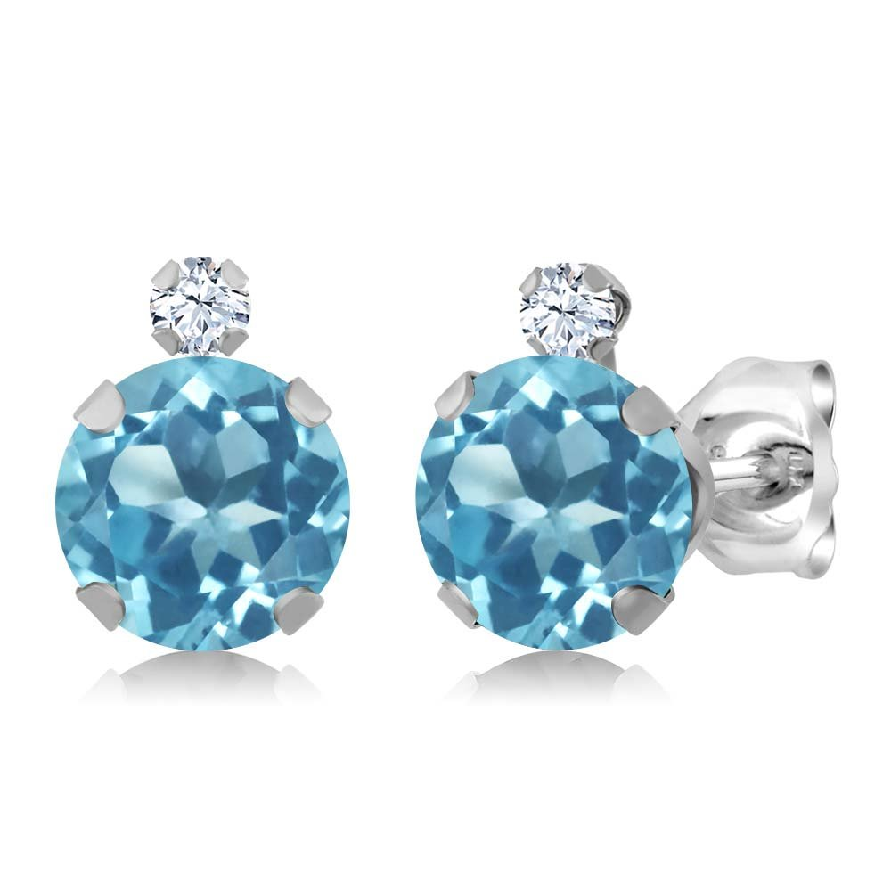 Gem Stone King 1.88 Ct Round Swiss Blue Topaz White Created Sapphire 925 Sterling Silver Earrings