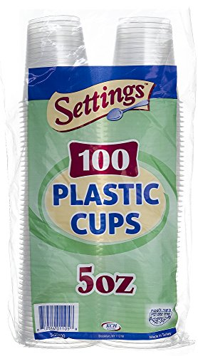 Settings Clear Plastic Disposable Cups, 5oz, 100 Count