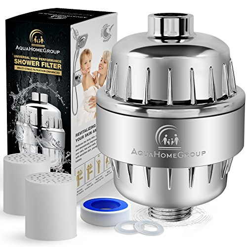 - Shower Water Filter Multi-Stage - 2 Cartridge Included - Removes Chlorine, Impurities, Unpleasant Odors - Filters Boosts Skin and Hair Health - For Any Shower Head and Handheld Shower by AquaHomeGroup