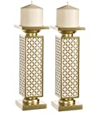 decorating dining room Schonwerk Diamond Lattice Decorative Pillar Candle Holders, Set of 2- Functional Table Decorations- Centerpieces for Dining/Living Room- Best Wedding/Birthday (Gold & White)