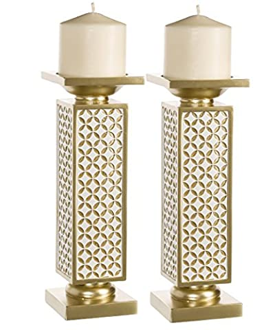 Schonwerk Diamond Lattice Decorative Pillar Candle Holders, Set of 2- Functional Table Decorations- Centerpieces for Dining/ Living Room- Best Wedding/ Birthday/ Anniversary Gift (Gold & (San Miguel Salt)