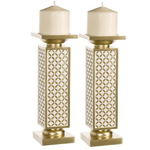 Schonwerk Diamond Lattice Decorative Pillar Candle Holders, Set of 2- Functional Table Decorations- Centerpieces for Dining/Living Room- Best Wedding/Birthday (Gold & White)