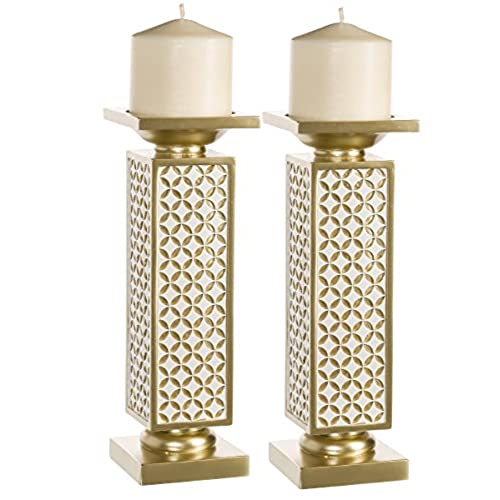 Schonwerk Diamond Lattice Decorative Pillar Candle Holders, Set Of 2   Functional Table Decorations  Centerpieces For Dining/ Living Room  Best  Wedding/ ...