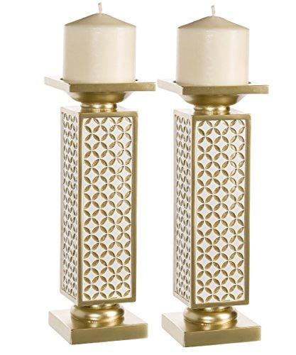 Schonwerk Diamond Lattice Decorative Pillar Candle Holders, Set of 2- Functional Table Decorations- Centerpieces for Dining/ Living Room- Best Wedding/ Birthday/ Anniversary Gift (Gold & White)