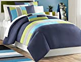 Mi Zone Pipeline King/Cal King Kids Bedding Sets for Boys - Navy Blue, Striped Pieced – 4 Pieces Boy Comforter Set – Ultra Soft Microfiber Kid Childrens Bedroom Comforters