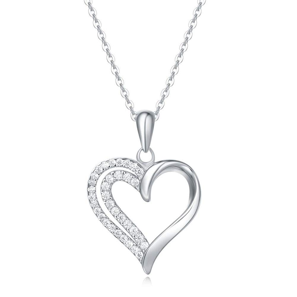 Fancime Sterling Silver Heart Necklace White Gold Plated Simulated Diamond CZ Pendant Necklace for Women Girls 16 + 2''