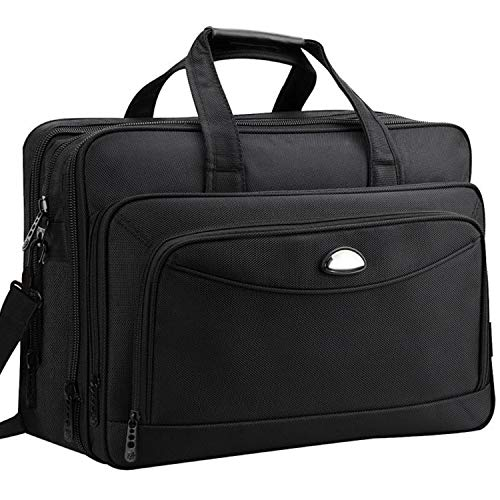 Laptop Briefcase, 17 inch Laptop Bag, Expandable Large Business Briefcases for Men Women, Waterproof Multi Compartment Computer Carrying Case with Organizer, Hybrid Shoulder Bag for School / Travel