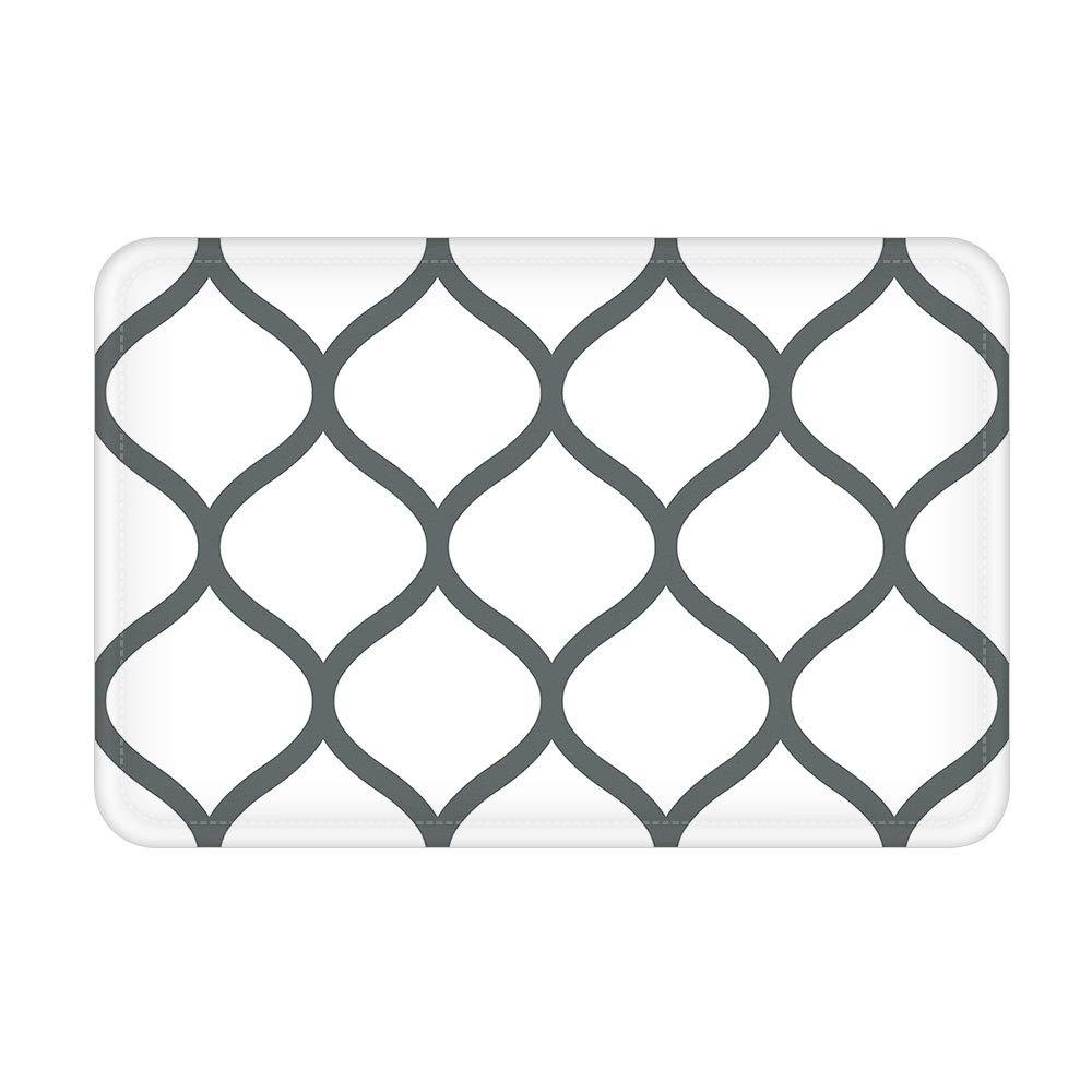 """J-MOOSE Bathroom Rug DoorMat Moroccan Rug Geometric Ogee Area mat Flannel Absorbent Kitchen Living Room Bedroom Floor Indoor Mat (16'' W X 24""""L, White)"""