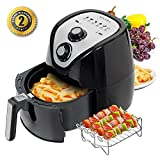 Secura 1500 Watt Large Capacity 3.2-Liter, 3.4 QT., Electric Hot Air Fryer and additional accessories; Recipes,BBQ rack and Skewers