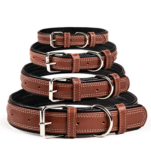 Orsus Dog Collar Leather Brown - Collar for Small Medium Large Dogs Black (Neck Fit 14''-18.5