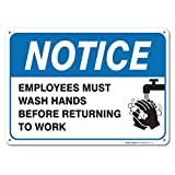Employees Must Wash Hands Sign, Large 10x7