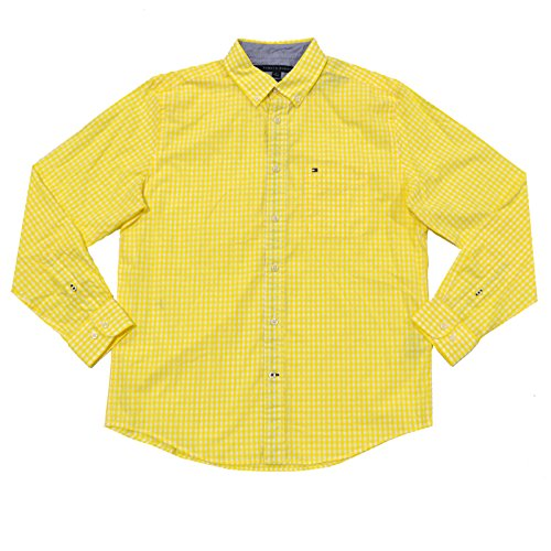 Tommy Hilfiger Mens Classic Fit Long Sleeve Gingham Buttondown (Large, Yellow)