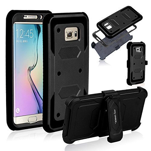 Anyshock Heavy Duty Shockproof Durable Full Body Protection Rigged Hybrid Case with Belt Clip Holster and Kickstand for Samsung Galaxy S6 Edge Plus(Free Screen Protector Included) (Black)